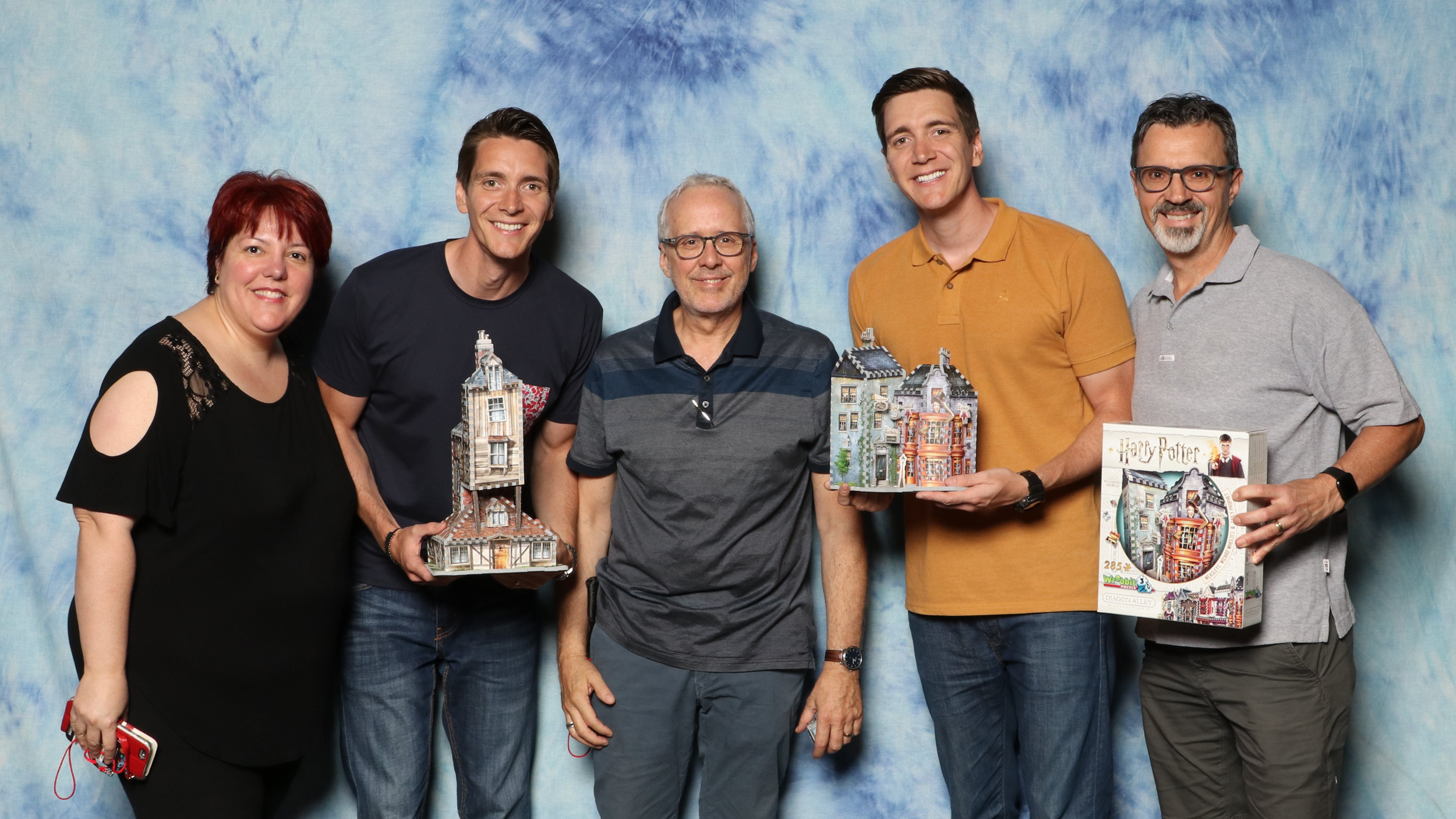 Wrebbit 3D Team with Oliver Phelps and James Phelps Actors playing Fred and George Weasley in Harry Potter movies