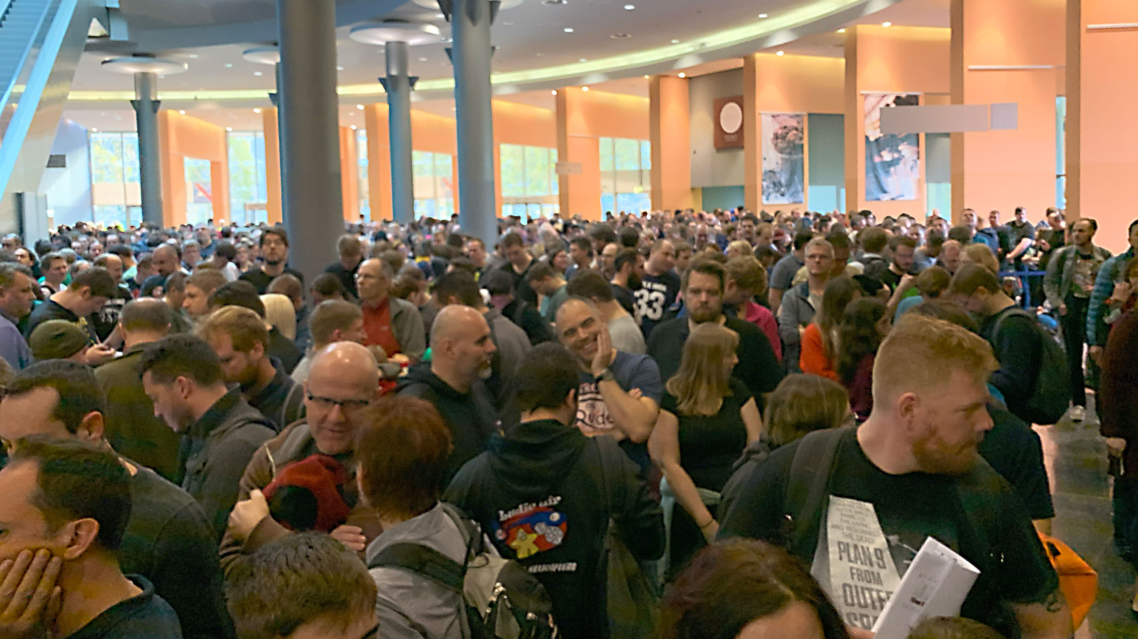 Large crowd waiting for Spiel Essen 2019